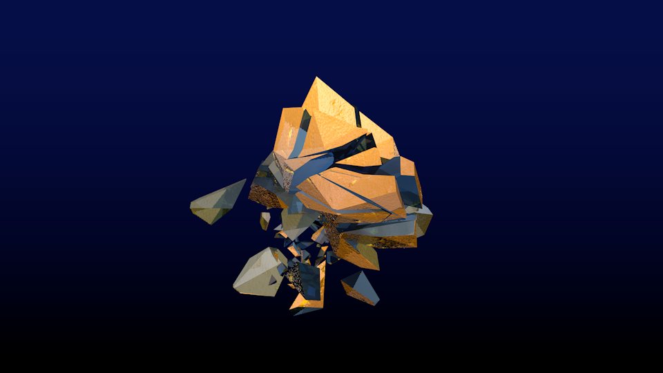 3d crystal shatter logo animation
