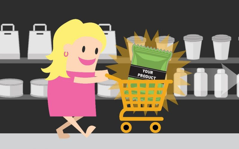 Cartoon Shopping Cart Woman explainer