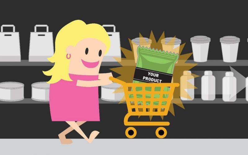 Cartoon Shopping Cart Woman explainer