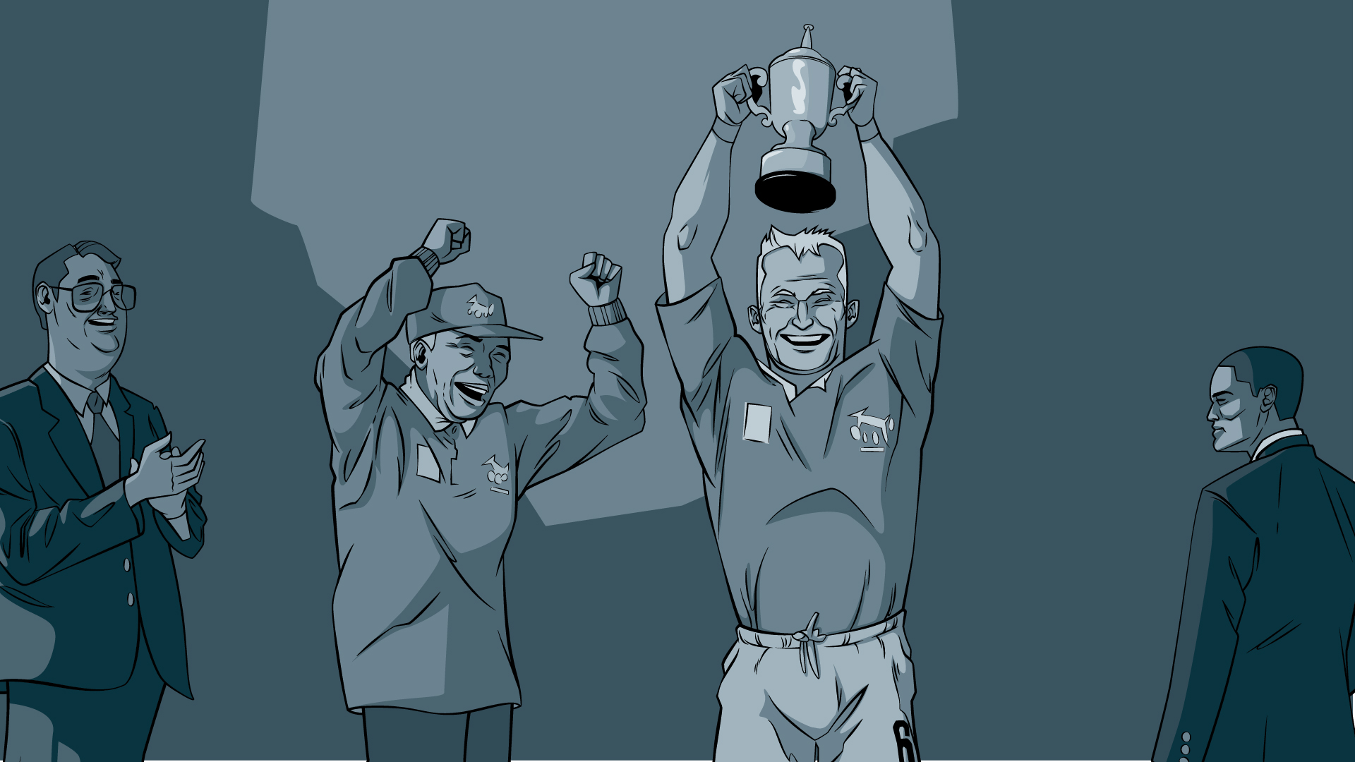 Super Impi 7 illustrated scene trophy rugby world cup for animation