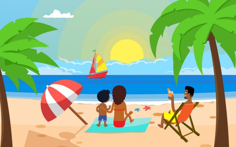 Vacation zone animated marketing video advert 2d cartoon Character