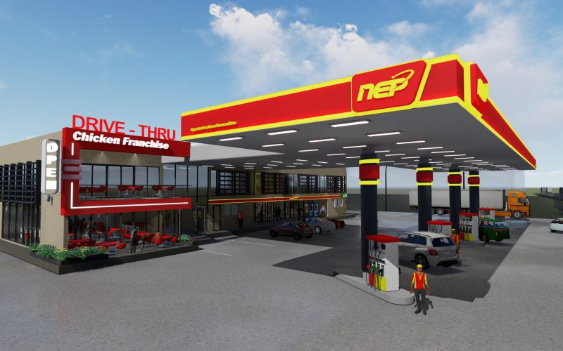 day time fuelling station 3d architectural marketing video